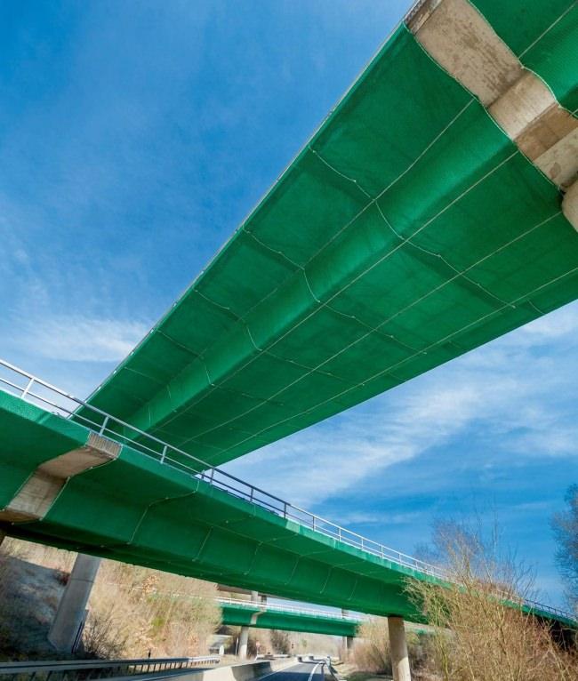 Brückensicherungsnetz mit Auflegeplane per m² | Schutznetze24
