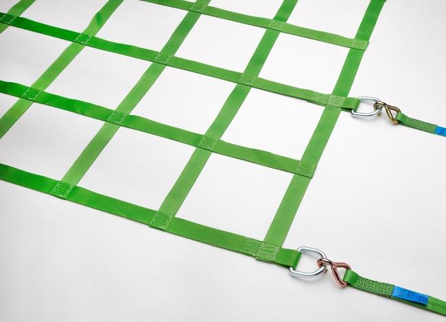 Gurtbandnetz (GS-geprüft) 3050 x 4250 mm für LKW 12t - Komplettset | Schutznetze24