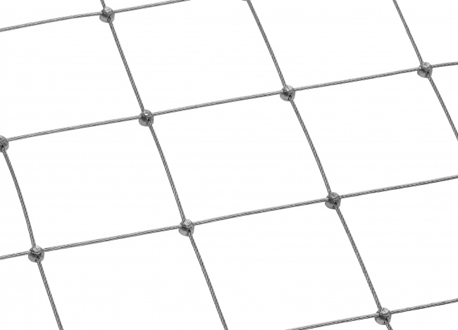 Stahldrahtseilnetz per m² mit 100 mm Maschenweite